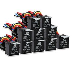 10 Pack Automotive Relay Switch Harness Set 5-Pin 30/40A Bos