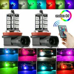 16Color RGB H11/H8/H9 LED Bulbs w/ Wireless IR Remote For Fo