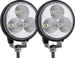 2 PCS 4Inch 27W Round Flood Beam Led Work Light Driving Fog