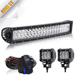 "22"" Curved Led Light Bar TURBOSII DOT Approved 120W Spot Flo"