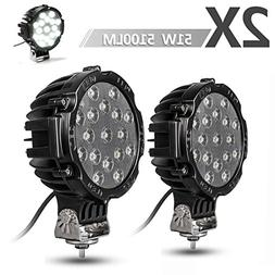 "2PACK 7"" LED Offroad Pod Lights Bar 51W with Mounting Bracke"