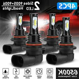 9005 9006 Combo 200W LED Headlight Bulb Kits High Low Beam F