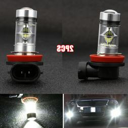 2x H8 H11 H16 6000K White 100W High Power LED Fog Light Driv