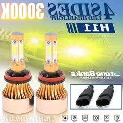 4-Side 3000K H11 H8 H9 LED Headlight Bulb Low Beam Yellow Li