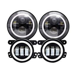 "DOT Approved Halo Ring 7"" Inch LED Headlights For 2007-2017"