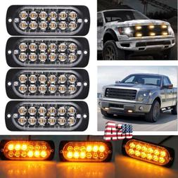 4Pcs Amber 12LED Warning Emergency Hazard Beacon Dash Strobe