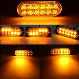 4x 12-LED Amber Warning Emergency Hazard Beacon Dash Strobe