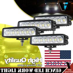 4x 6inch 72W Led Work Lights Pods Cube Flood Beam Offroad AT