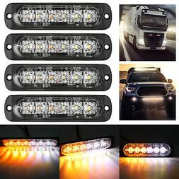 4X Amber/White 6LED Car Truck Emergency Beacon Warning Hazar