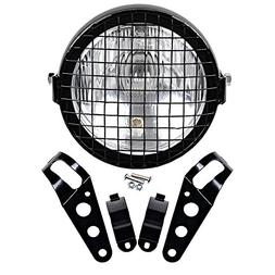 6 1/2'' Retro Clear Lens Side Mounted Single Headlight + Mes