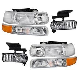 6 Pc Set of Headlights Fog Lights & Side Signal Marker Lamps