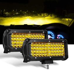 7 Inch 2PC Yellow Spot Beam LED Light Bar Sammanlight Light