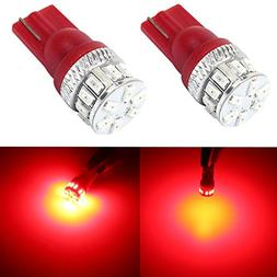 Alla Lighting Super Bright T10 194 Red LED Bulbs High Power