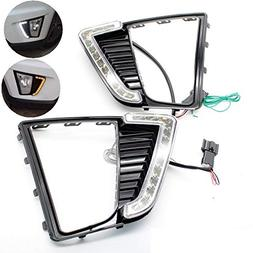 AupTech LED DRL Daytime Running Lights with Yellow Signal Fu