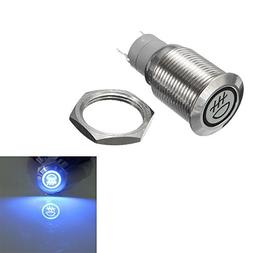 E Support™ 12V Car Vehicle Blue LED Light Fog Push Button