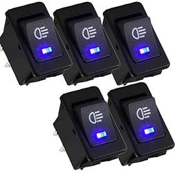 E Support™ Car Blue LED Fog Light Toggle Rocker Switch 4Pi
