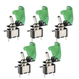 E Support Car Green Cover Green LED Toggle Switch Pack of 5