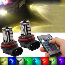 Fog Light, JAYEJA Remote Control Lights H11 H8 5050 27SMD LE