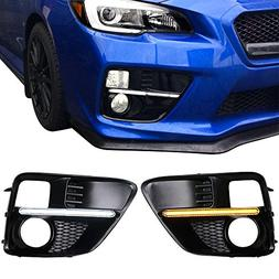 Fog Lights Cover Fits 2015-2018 Subaru Impreza | White DRL &
