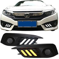 Fog Lights Cover Fits 2016-2018 Honda Civic | White DRL & Am