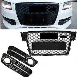 Front Honeycomb Grille Fog Light Grill Cover For Audi A4 S4