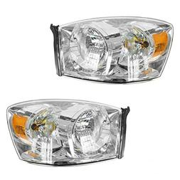 Headlights Headlamps w/Chrome Bezel Pair Set for 06-08 Dodge