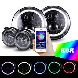 Jeep Wrangler 2pcs 7 Inch RGB Bluetooth-Controlled Color-Cha