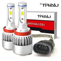 LASFIT H11/H8/H9/H16 LED Headlight Bulbs Crystal White 7600L