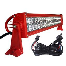 LED Light Bar YITAMOTOR Red 24 Inch Flood Spot Combo LED Wor