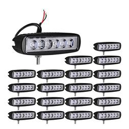 Led Light Bar YITAMOTOR Led Pod Lights 20Pcs 18W 6inch Singl