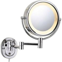 Lighted 5X Magnifying Wall Mirror, Chrome