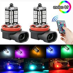 LinkStyle 2PCS H8/H11 RGB Multi-Color Changing Brightness Mo