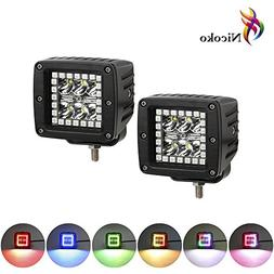 """Nicoko 18w 3"""" Led work light with Chaser RGB Halo 10 Solid c"""