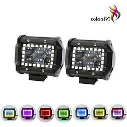 Nicoko 18w 4Inch Cree Led Work Light bar with Multi-color Ch