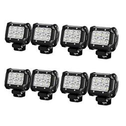 Nilight LED Light Bar 8PCS 4Inch 18W LED Bar 1260lm Flood Le