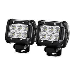 Nilight Led Light Bar 2PCS 18W 1260lm Spot Driving Fog Light