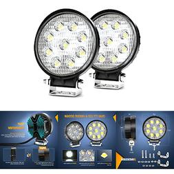 "Nilight Led Light Bar 2PCS 4.5"" 27w 3000LM Round Flood Light"