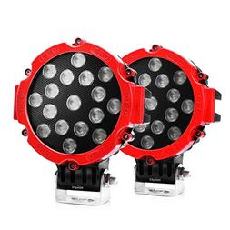 "Nilight Led Light Bar 2PCS 7"" 51w 5100LM Red Round Flood Lig"