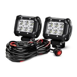 Nilight ZH009 LED Light Bar 2PCS 18W Spot Off Road Lights wi
