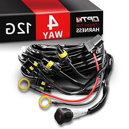 OPT7 12 Gauge 500W Quad 4 Way Wiring Harness w/Switch for LE