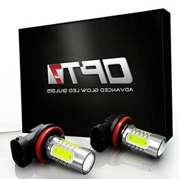 OPT7 Show Glow Plasma 9006 LED Fog Light Bulbs - COB 6000K C
