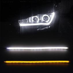 Partsam 2x 45cm Illuminate White/Amber Switchback LED Strip
