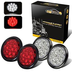 "Partsam 4"" Round Faceted 15 LED Stop Tail Turn Signal Backup"