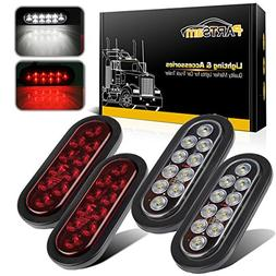 "Partsam 6"" Red Oval Sealed LED Turn Signal and Parking Light"