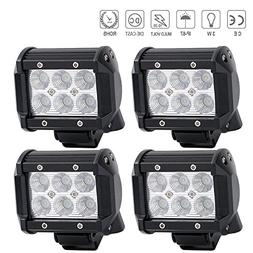 "QuakeWorld DOT Led Light Bar 4PCS 18w 4"" Flood Driving Fog L"