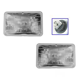 Rectangle Shaped Low Beam Sealed Headlights Headlamps Pair S