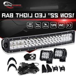 """TERRAIN VISION Curved 22"""" Inch LED Light Bar 120w for Bumper"""