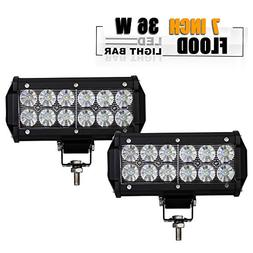 TURBOSII 2pcs 7 Inch Led Light Bar Flood Led Off Road Grill
