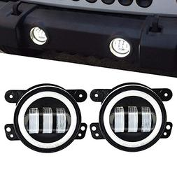 TURBOSII 4 inch Round Led Fog Lights Offroad Lamps Front Bum
