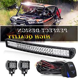 TURBOSII DOT 32/30 Inch Curved Led Light Bar Offroad Spot Fl